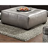 Shimmer Pewter Silver Ottoman, Made In USA