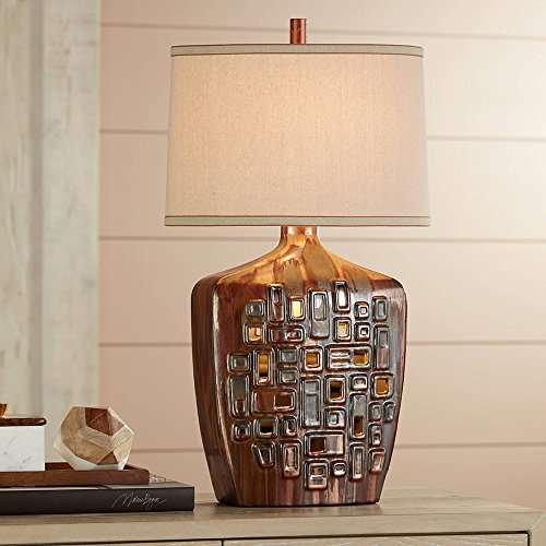 Beige Ceramic Table Lamp - Leanne Modern Table Lamp with Nightlight LED Ceramic Cutout Pattern Beige Oval Shade for Living Room Family Bedroom - Possini Euro Design