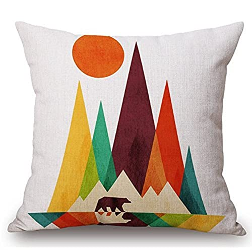 Cotton linen square decorative throw pillow case cushion cover colorful abstract geometric composition triangle mountain and sun 18 x18 2