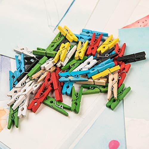 papel fotogr/áfico manualidades decoraci/ón mini pinzas para la ropa color peri/ódico 50 pinzas de madera para fotos de colores