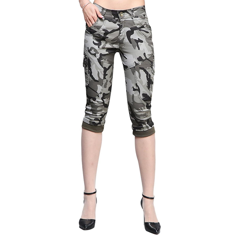 SunWanyi Damen Bermuda Camouflage Shorts Kurze Hose Mit