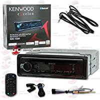 Kenwood eXcelon In-dash 1DIN Car audio AM/FM MP3 CD player with Bluetooth & iPhone and Android Support + 3.5mm AUX CABLE