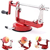 3 in 1 Apple Slinky Machine Peeler Corer Potato Fruit Cutter Slicer Kitchen Tool (Red)