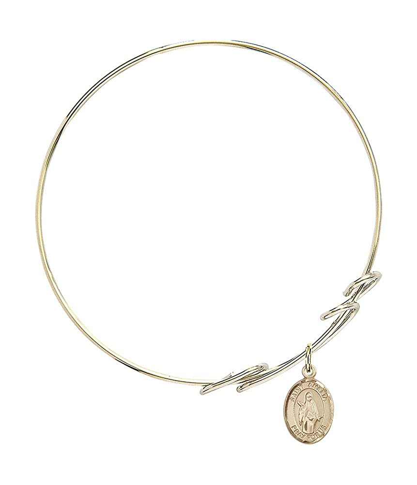 St Amelia Charm On A 7 1//2 Inch Round Double Loop Bangle Bracelet