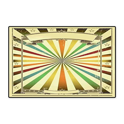 Vintage Rainbow Bath Mats Carpet Colorful Burst of Lines with Poster Design with Stars Circus Illustration Customize Door mats for Home Mat 24