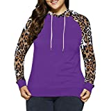 Women Shirts Tops Plus Size Leopard Casual Long Sleeve Blouse Tunic Girls Sweatshirt Pullover Tops (XL, Purple #)