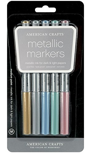 American Crafts NOM320016 Metallic Markers Medium Point, 5 Per Pack, Gold/silver/blue/teal/violet 0.13 Ounce Pack