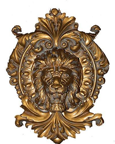 Hickory Manor House Lion Medallion Plaque, Antique Gold