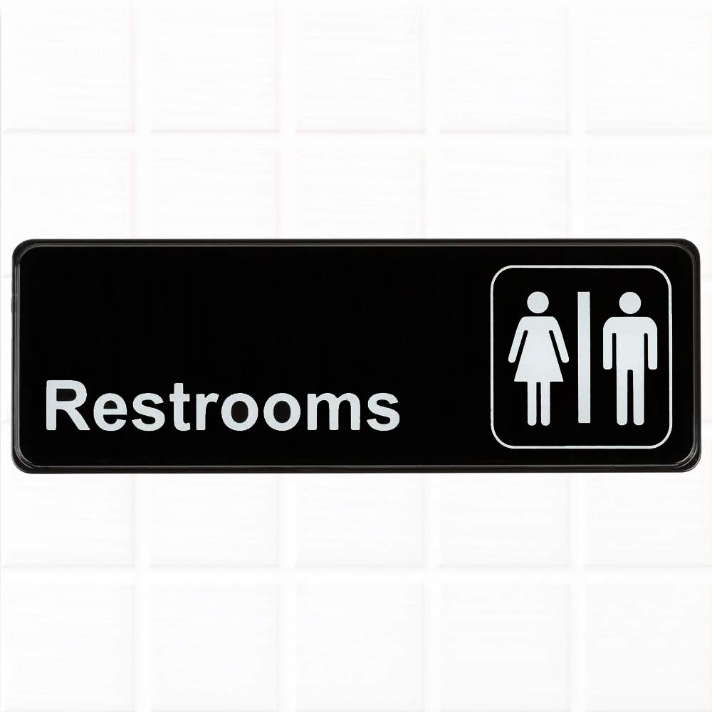 Restrooms sign black and white 9 x 3 inches restrooms sign for door wall restroom signs bathrooms signs by tezzorio amazon com industrial