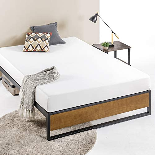 ZINUS GOOD DESIGN Award Winner Suzanne 14 Inch Metal and Wood Platforma Bed Frame / No Box Spring Needed / Wood Slat Suport, Brown, Queen 51o5Zn9uD7L