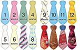 Baby's First Year Monthly Necktie Milestone Birthday Peel Sticker Photo Props, Unisex,12-Piece Plus Special Occasion/Holiday-New Year's/Mother's Day/July 4th/Christmas, Child Portraits,Shower Gift