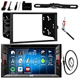 pontiac android tv - JVC KWV140BT 6.2 LCD Bluetooth CD DVD Car Stereo Receiver Bundle Combo w/ Backup Camera, Steering Wheel Controller, Dash Install Kit for Most GM Vehicles, Enrock 22 Radio Antenna with Adapter