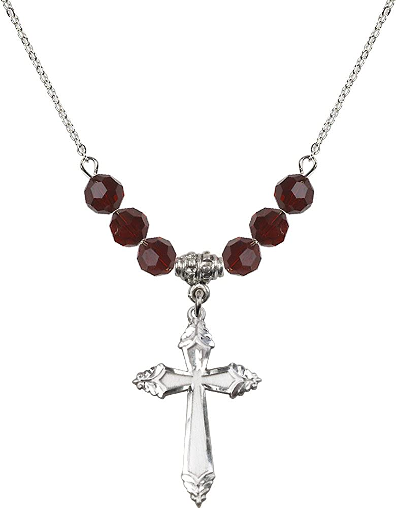 18-Inch Rhodium Plated Necklace with 6mm Garnet Birthstone Beads and Sterling Silver Cross Charm.