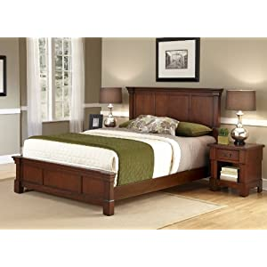 Home Styles Aspen Cherry King Bed and Nightstand with Mahogany Hardwood Construction, Picture Frame Moldings, Americana…