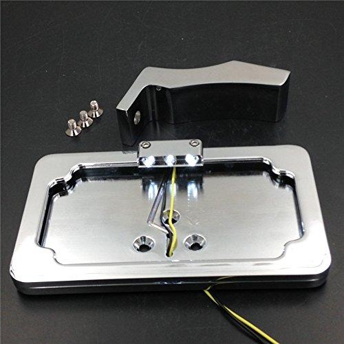 NBX- Soporte de matrícula lateral cromado con luz LED para ...