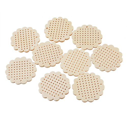 - Souarts Beige Wood Flower Shape Small Circle Blanks Pendant for Counted Cross Stitch Kit 44.5mmx45.5mm Pack of 10pcs