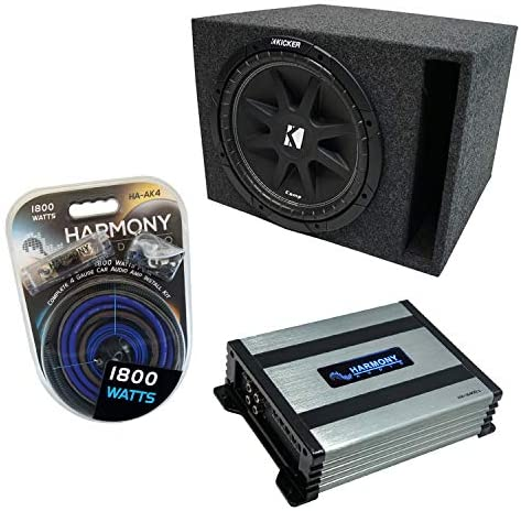 Universal Regular Standard Cab Truck Kicker Bundle Comp C12 Single 12 Sub Box Enclosure /& Harmony HA-A400.1 Amp