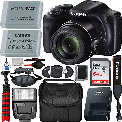 Canon PowerShot SX540 HS Digital Camera (1067C001) with Deluxe Accessory Bundle – Includes: 1x Seller Replacement Battery, SanDisk Ultra 64GB Memory Card, Digital Slave Flash, 12″ Gripster & More