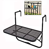 Folding Table Wall-Mounted Hanging Balcony Table,Balcony Succulent Flower Table Foldable Multifunctional Storage Table, Height-Adjustable Garden Table (Color: Black