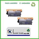 2x Toner compatible con Brother HL2130, Brother TN 2010-TN 450, Pack Ahorro 2 cartucho toner TN2010 .Impresoras Brother HL2130 , HL 2310 , HL2310 , DCP7055 , DCP 7055.Copias 2600. Enviado desde Madrid. - PRODUCTO NO ORIGINAL.
