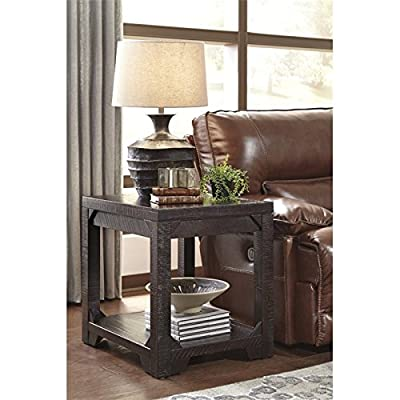Signature Design by Ashley T745-3 Rogness Rectangular End Table, Rustic Brown