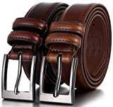 Marino's Men Genuine Leather Dress Belt with Single Prong Buckle - Pack of 2-1 Mahogany and 1 Burnt Umber - 38