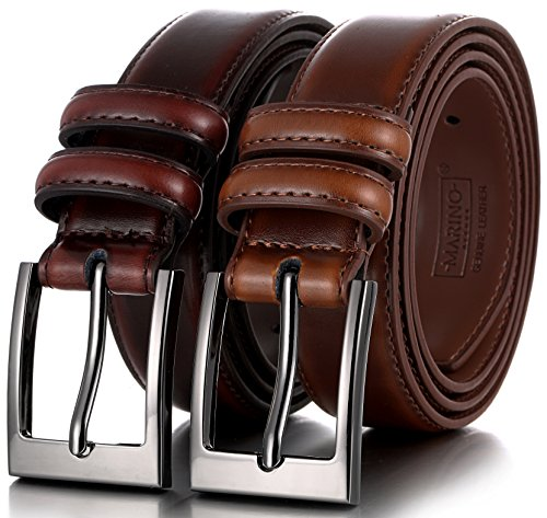 Marino's Men Genuine Leather Dress Belt with Single Prong Buckle - Pack of 2-1 Mahogany and 1 Burnt Umber - 40 ()