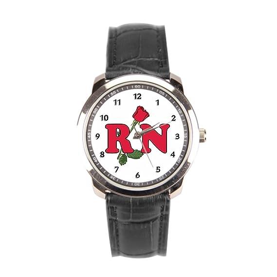eleganceelegant enfermera mejor relojes de piel negro hombres sleatherwatch