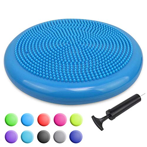 Trideer Inflated Stability Wobble Cushion with Pump, Extra Thick Core Balance Disc, Kids Wiggle Seat, Sensory Cushion for Elementary School Chair (Office & Home & Classroom) (34cm New Blue)