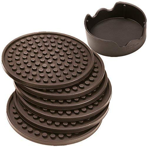 ENKORE Coasters Set of 6 with Holder, Coffee Brown - Protect Furniture From Water Damage And Scratch, Big Size Hold All Types of Glass For Drinks, Stay Put, Leak Proof,Non Slip Function On Both Sides