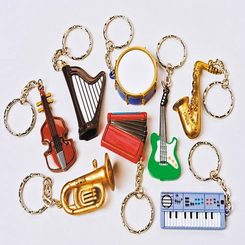 one-assorted-musical-instrument-key-chain-key-ring