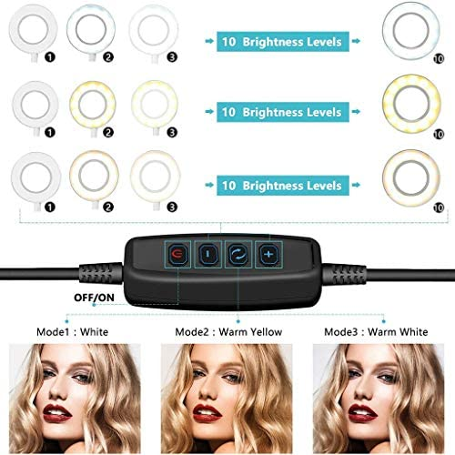 LEDリングライト - 外径10in USBライト 3色モード付き 撮影照明用ライト 卓上ライト 高輝度LED スマホスタンド付き 美容化粧/YouTube生放送/ビデオカメラ撮影用 (ブラック)