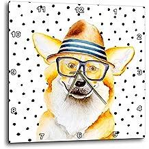 3dRose Uta Naumann Watercolor Illustration Animal - Cute Funny Dog Illustration on Polkadots- Welsh Corgi Pembroke - 10x10 Wall Clock (dpp_275102_1)
