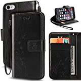 iPhone 6S Case,iPhone 6 Case, Korecase Premiun Wallet Leather Credit Card Holder Butterfly Flower Pattern Flip Folio Stand Case for Apple iPhone 6 6S With a Wrist Strap (Black)