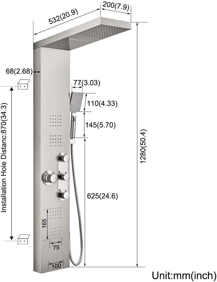 BONADE Panel de Ducha Termostática Panel de Hidromasaje en Acero ...