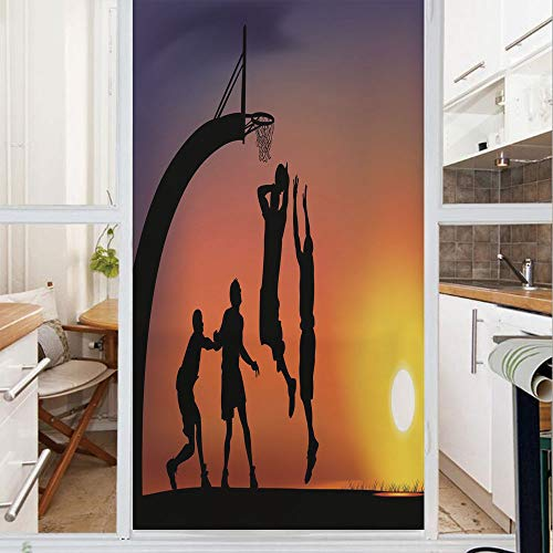 - Decorative Window Film,No Glue Frosted Privacy Film,Stained Glass Door Film,Boys Playing Basketball at Sunset Horizon Sky Dramatic Scene Decorative,for Home & Office,23.6In. by 47.2In Dark Coral Black