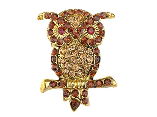 Alilang Smoked Synthetic Topaz Crystal Rhinestones Perched Branch Standing Hoot Owl Pin Brooch -