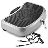 Axis-Plate Vibration Plate Exercise Machine - Full Whole Body Fitness Platform with Resistance Bands - White