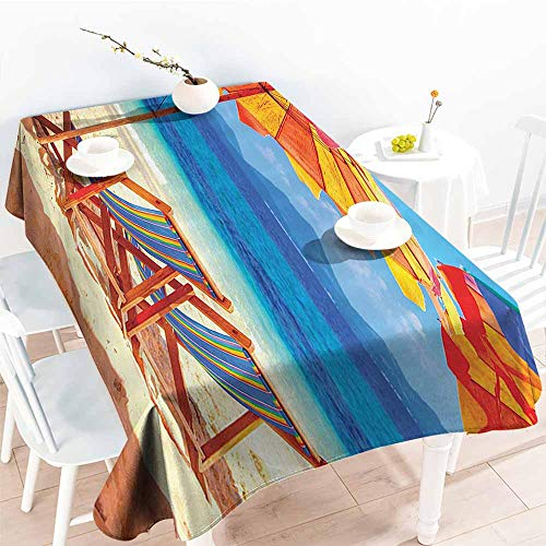 Stain-Resistant Tablecloth Seaside Decor Deck Chairs Overlooking Tropical Sea of Thailand Beach Exotic Holiday Picture Orange Blue Picnic W52 xL72