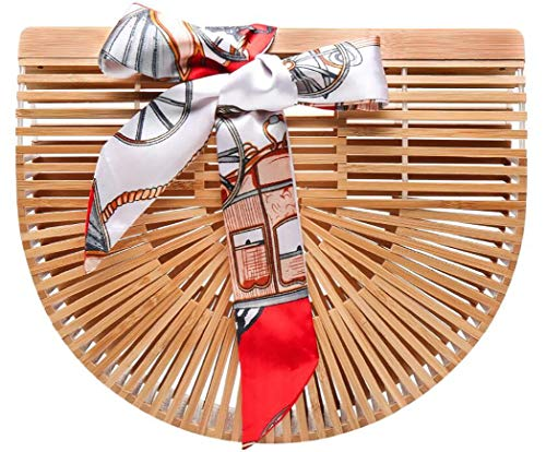 (Obosoyo Women's Handmade Bamboo Handbag Summer Beach Sea Tote Bag Beige Large)