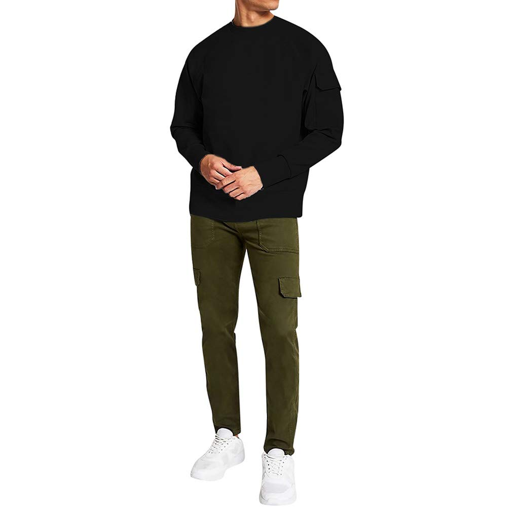 VZEXA Mens Sweatshirt Oversized Round Neck Long Sleeve Pocket Pullover Solid Casual Tops (Black,XL) by VZEXA