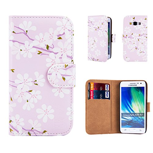 32nd Floral Design Leather Wallet Case for Samsung Galaxy A3 (2015), Designer Flower Pattern Wallet Style Case Cover With Card Slots - Cherry Blossom