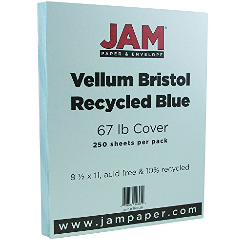 (JAM PAPER Vellum Bristol 67lb Cardstock - 8.5 x 11 Letter Coverstock - Blue - 250 Sheets/Ream)