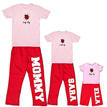 Footsteps Clothing Little Bug Personalized Shirt and Pant Set - Youth Small, Pink S/S, Red Pants (333)