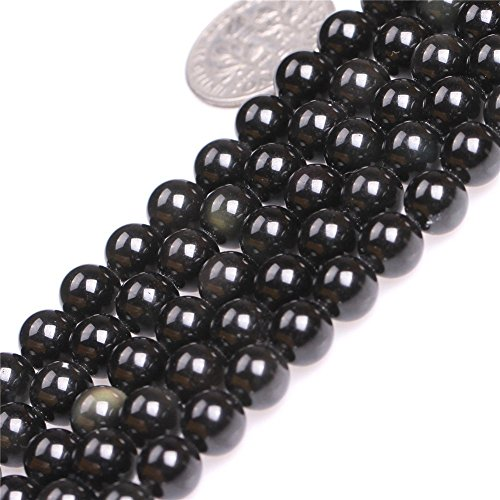 10mm Natural Black Obsidian Beads Round Gemstone Loose Beads for Jewelry Making (38-40pcs/strand)