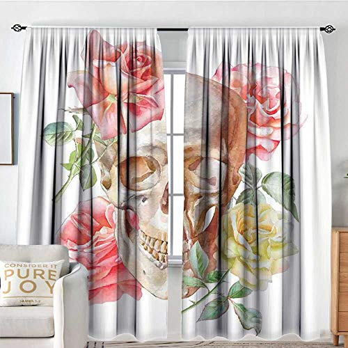Petpany Bathroom Curtains Skull,Skull with Roses Living and The Dead Humor Romantic Evil Face Image Art Deco,Pink Beige Yellow,Drapes Thermal Insulated Panels Home décor ()