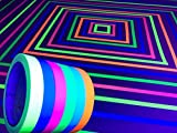 GreyParrot Tape Fluorescent Neon Tape, (6 Pack)(6 Colors), 33ft Per Roll, UV Black Light Reactive. 0.5in x 33ft per roll