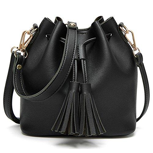 Bucket Shoulder Bag (Black Crossbody Bags for Women Bucket Purse Small Black Purse Drawstring with Tassel)