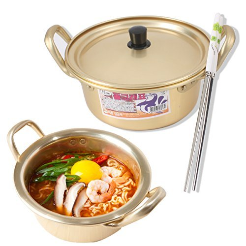 Korean Ramen Noodle Pot 6.3(16cm) + Chopstick (1 Pair) + Dish scrubber, Made in Korea
