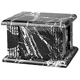 Star Legacy\'s Classic Black and White Large Marble Adult Funeral Cremation Urn for Human Ashes